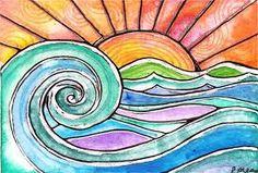 water color sunrise over sea