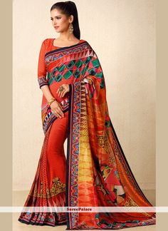 Pleasing Tussar Silk Multi Colour Print Work Traditional Designer Saree