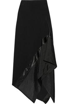 Donna Karan New York | Asymmetric satin and organza-paneled wool-blend skirt | NET-A-PORTER.COM