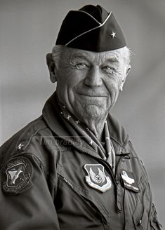 YEAGER, Charles E. (Chuck), Brigadier General, USAF, (Retired) at Edwards AFB, 14 October 1998, photograph © 2010 by Tim Bradley Imaging