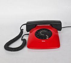 MOMA Rotary Telephone  Vintage Iskra ETA 80 81 82   Red