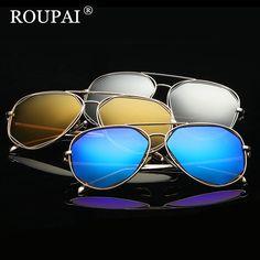 57971f0b51 ROUPAI 2017 New Fashion Vintage Sun Glasses Women Brand Designer Polarized  Sunglasses Female Metal Frame Pink
