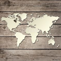 paper world map on a wooden board vector  - Z mapą Świata - Fototapety - FIXAR.pl
