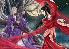 . Chinese Picture, Chinese Art, Chinese Movies, Korean Art, Asian Art, Eternal Love Drama, Fantasy Couples, Star Painting, Fantasy Drawings