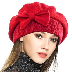 Lady French Beret 100% Wool Beret Floral Dress Beanie Winter Hat - Bow-red 5246d3785203