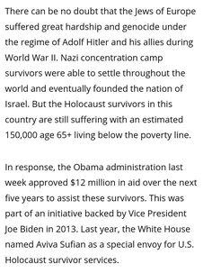 Reparations For Slavery, Holocaust Survivors