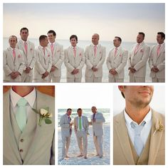 If your wedding is more elegant and held at night or you just want to look a bit more dressed up, then go for a khaki or beige colored linen suit. You could pair it with a crisp white shirt and a color tie, or wear a light colored shirt and no tie. Your groomsmen could wear a guayabera matching your tie or shirt color!