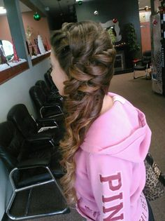 Curly side swept updo