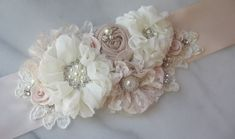 Pale Blush and Ivory Bridal Sash, Petal Pink Wedding Belt, Flower Sash, Pearls and Crystals - BARELY BLUSH on Etsy, $161.00