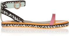 Bea Patentleather and Raffia Sandals - Lyst