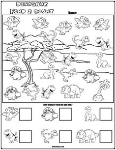math Teach counting skills with these Dinosaur Characters! Great for teaching counting skills. Five no prep worksheets great for math centers! Dinosaur Worksheets, Dinosaur Theme Preschool, Dinosaur Activities, Dinosaur Dinosaur, Kindergarten Prep, Kindergarten Math Worksheets, Preschool Activities, Math Math, Math For Kids