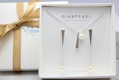 Bridesmaid gift,will you be my bridesmaid,Single pearl jewelry set,front back earrings pearl,long pearl,silver jewelry set by DIANPEARL on Etsy