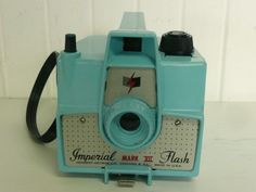 1950s Imperial Mark XII Aqua Blue Turquoise Box Camera With Original Carrying Strap - Collectible
