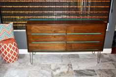 Walnut dresser w/turquoise accents mid century modern furniture