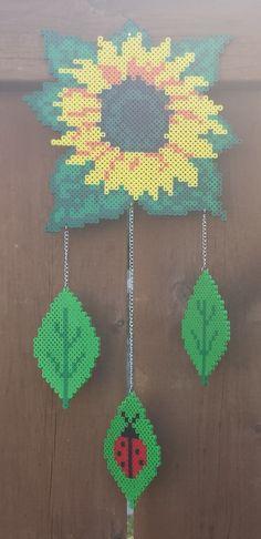 Week 18, Day 124, Flowers, Sunflower. 365 Day Perler Bead Challenge.