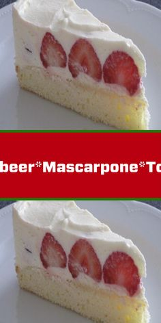 Erdbeer*Mascarpone*Torte If you like strawberry cake you will love the cake. Airy dough and the creamy mascapone cream is a real dream cake. Christmas Desserts, Fun Desserts, Dessert Recipes, Apple Desserts, Chocolate Desserts, Chocolate Cake, Delicious Desserts, Super Torte, Mascarpone Cake