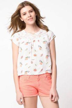 Bluz - Dantel Detaylı Desenli Bluz