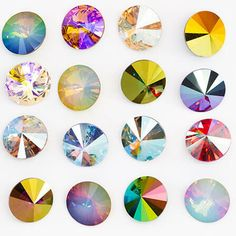 12MM Swarovski Crystal Rivolis - Custom Coated Rivoli Assortment Stones And Crystals, Crystal Beads, Swarovski Crystals, Austrian Crystal, Beading Supplies, Czech Glass, Seed Beads, Color, Art