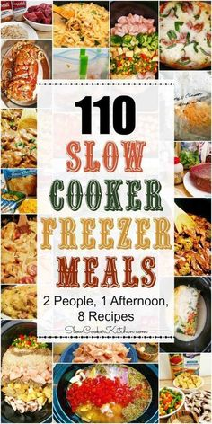 Crockpot Freezer Meals-I saved the individual meals I want to try, so this pin has the grocery lists. If you're looking for an EPIC crockpot freezer meals cooking session.Check this out! 1 afternoon, 2 people, 8 recipes and you get 110 freezer meals. Budget Freezer Meals, Freezer Friendly Meals, Slow Cooker Freezer Meals, Healthy Freezer Meals, Healthy Recipes, Slow Cooker Recipes, Cooking Recipes, Freezer Cooking, Freezer Recipes