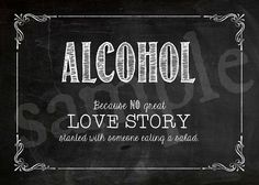 INSTANT DOWNLOAD Printable Wedding Sign Alcohol Table by JoJoMiMi, $2.25