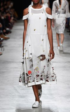 Hand Embroidered Mid Length Dress by RAHUL MISHRA for Preorder on Moda Operandi