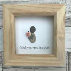 Pebble art, thank you gift, thank you teacher, pebble people, personalised, teaching assistant, wall art, pebble picture, alternative Simple but cute thank you gift - for any reason - eg teacher, bridesmaid, teaching assistant Single pebble person holding a paper flower