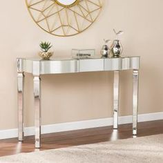 Longo Rectangle Mirrored Console Table Mirrored Console Table Mirrored Sofa Table Mirror Console
