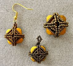 """I tried another beaded bezel pattern yesterday with mixed results. This one is the """"Captured Crystal Cubes Earrings"""" from Beading Daily. Y..."""