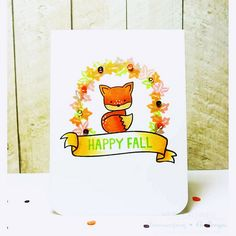Lawn Fawn - Into the Woods, Sweater Weather, Bannerific _ Lawnscaping Challenge One Layer Fall Card | by Heidi {craftytime4u}