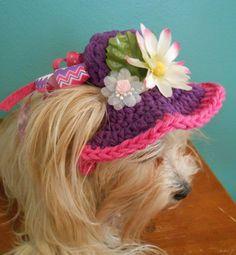 Fancy Crocheted Cat or Dog Sunhat Summer Pet Bonnet by Fancihorse