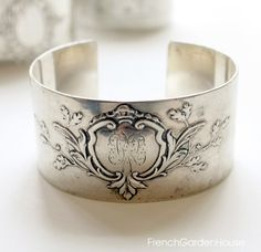 Karen Lindner Antique Silver Cuff Bracelet Crest Oak Leaves.FrenchGardenHouse.com