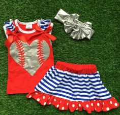 Have your princess the star of the show in this stunning baseball skirt set! Silver heart baseball on the front! Perfect for everyday wear, any baseball game, p