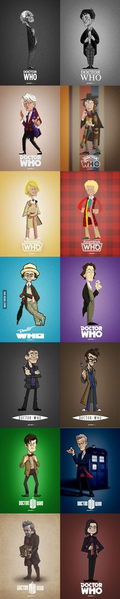 "Doctor Who in Cartoon Style. I love that the artist included Rowan Atkinson's version from the ""Doctor Who and the Curse of Fatal Death"" spoof. Awesome. Wish I could read the artist's signature."