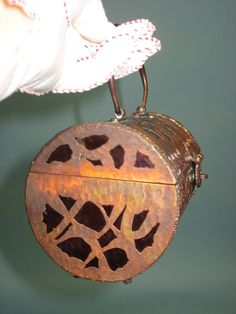WOW! Walberg Walborg RED acrylic LUCITE PURSE hammered copper filigree casing.