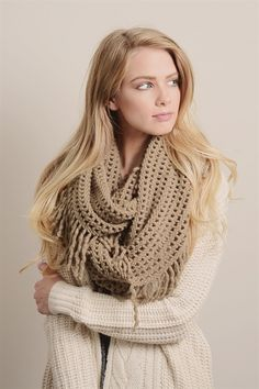 Lattice Infinity Scarf- Mocha