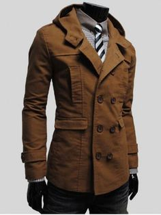 GET $50 NOW | Join RoseGal: Get YOUR $50 NOW!http://www.rosegal.com/men-s-coats/lapel-collar-double-breasted-hooded-847817.html?seid=1424208rg847817
