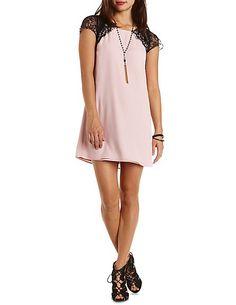Lace & Chiffon Raglan Sleeve Shift Dress: Charlotte Russe#charlottelook