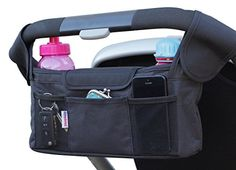 Deluxe Stroller Organizer by DoteDotes ★ Universal Black Diaper Bag and Thermo-Insulated Cup Holders - Fits Most Strollers  $19.99