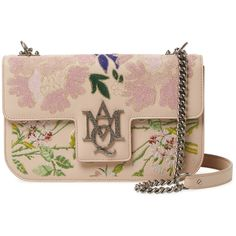 Alexander McQueen Women's Embroidered Leather Shoulder Bag -... ($1,859) ❤ liked on Polyvore featuring bags, handbags, shoulder bags, leather flap handbags, pink purse, leather purses, shoulder strap handbags and pink leather handbags