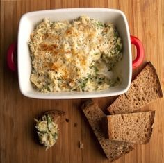 Artichoke Dip - Unlike many dips, this one is cooked, making it a good snacking choice when going through chemo. This artichoke dish is great at room temperature or hot out of the oven. It makes a tasty, creamy side for broiled fish or chicken.
