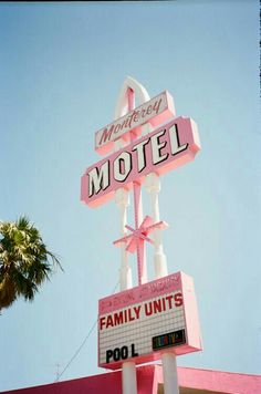 aesthetic, grunge, light, motel, pink