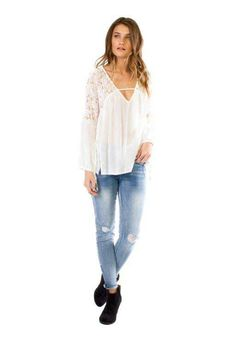 Anama Clothing Lace Inset Woven Peasant Top in Eggshell W17-114