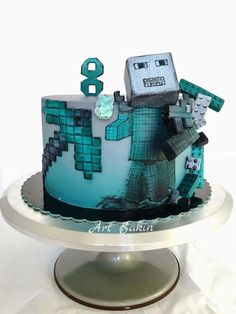 Minecraft - cake by Art Bakin' Minecraft Birthday Party, Birthday Party Games, Birthday Cake, Bolo Minecraft, Avenger Cake, Fantasy Cake, Personalized Cakes, Holidays With Kids, Cakes For Boys