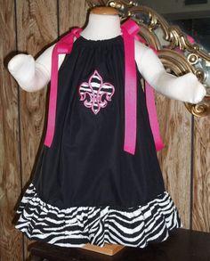 Zebra Fleur de lis Applique/ Ruffled Boutique by grannydiane, $25.00