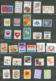 Send them your love: LOVE stamps! reminiscing ~ memories ~ old school ~ postage. Valentines Design, Valentines Day, Funny Valentine, Commemorative Stamps, Old Stamps, Going Postal, Small Art, Stamp Collecting, Wall Collage