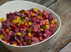 Sałatka z buraków w majonezowo- tuńczykowym sosie Pot Roast, Acai Bowl, Dog Food Recipes, Chili, Beans, Soup, Vegetables, Breakfast, Ethnic Recipes
