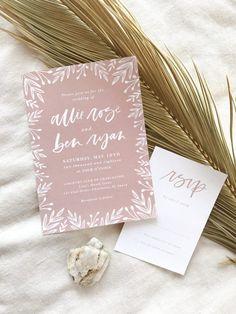 modern calligraphy boho wedding invitation | indie wedding invitation | bohemian wedding | by bare ink co. on etsy