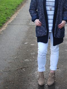 white jeans layered up for winter // chambrayandcurls
