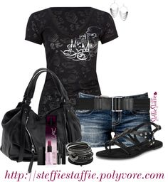 """Black & Silver"" by steffiestaffie on Polyvore"