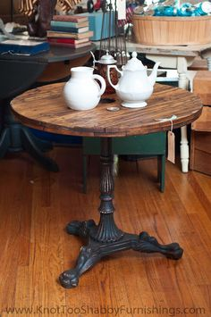"""Repurposed Awesome"" Heavy iron table base topped with vintage cable spool side; at knot too shabby in Downtown Glendora, CA"